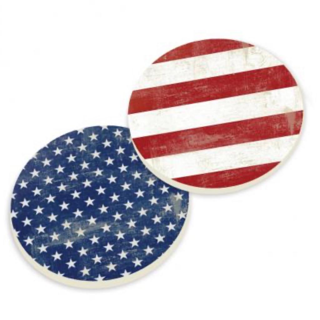PGD Car Coaster Set, Americana, Stars and Stripes