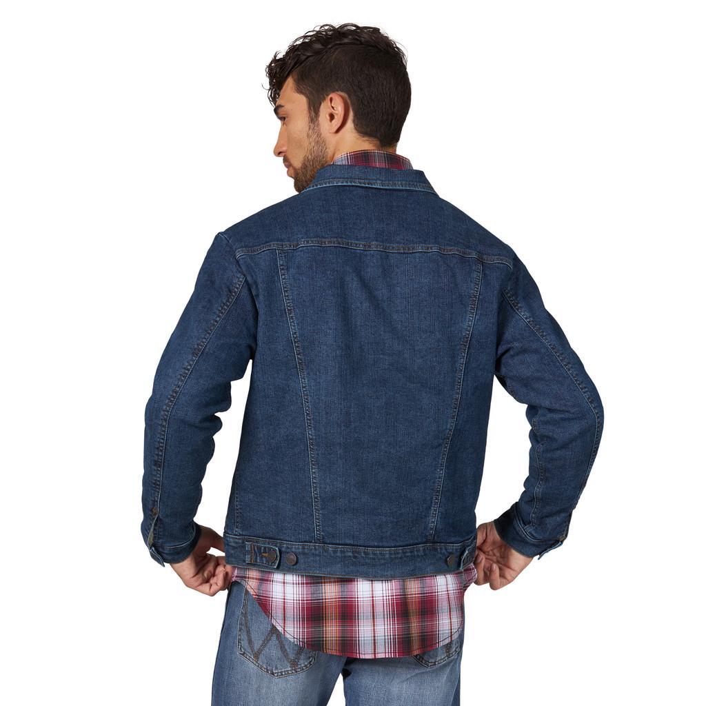 Men's Wrangler Jacket, Retro, Vintage Dark Denim with Sherpa Lining