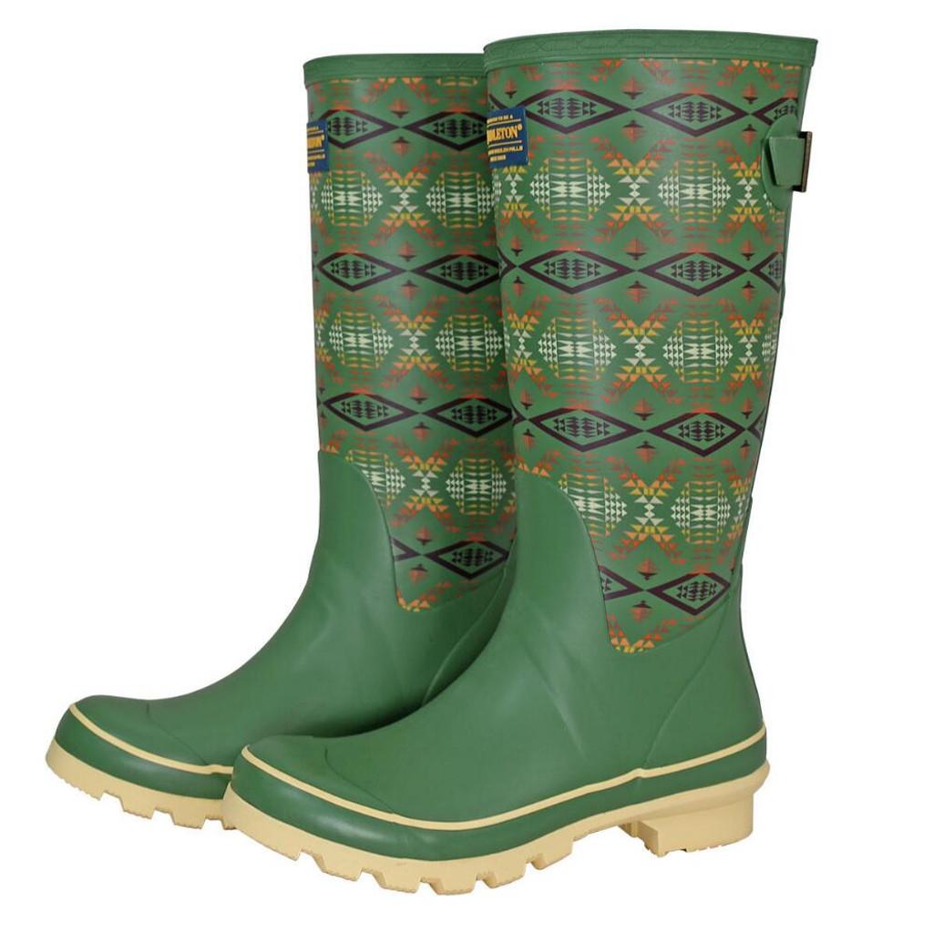 Women's Pendleton Rain Boot, Tall, Diamond River, Green Aztec