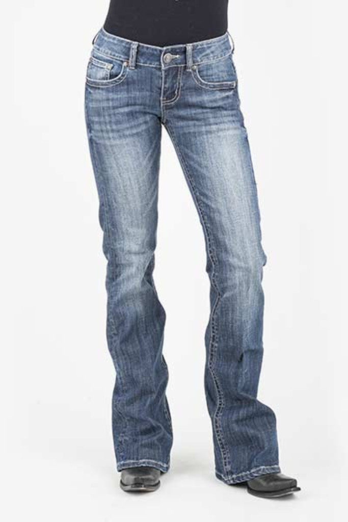 Women's Stetson Jeans, Classic Bootcut, Bleached Deco on Pocket