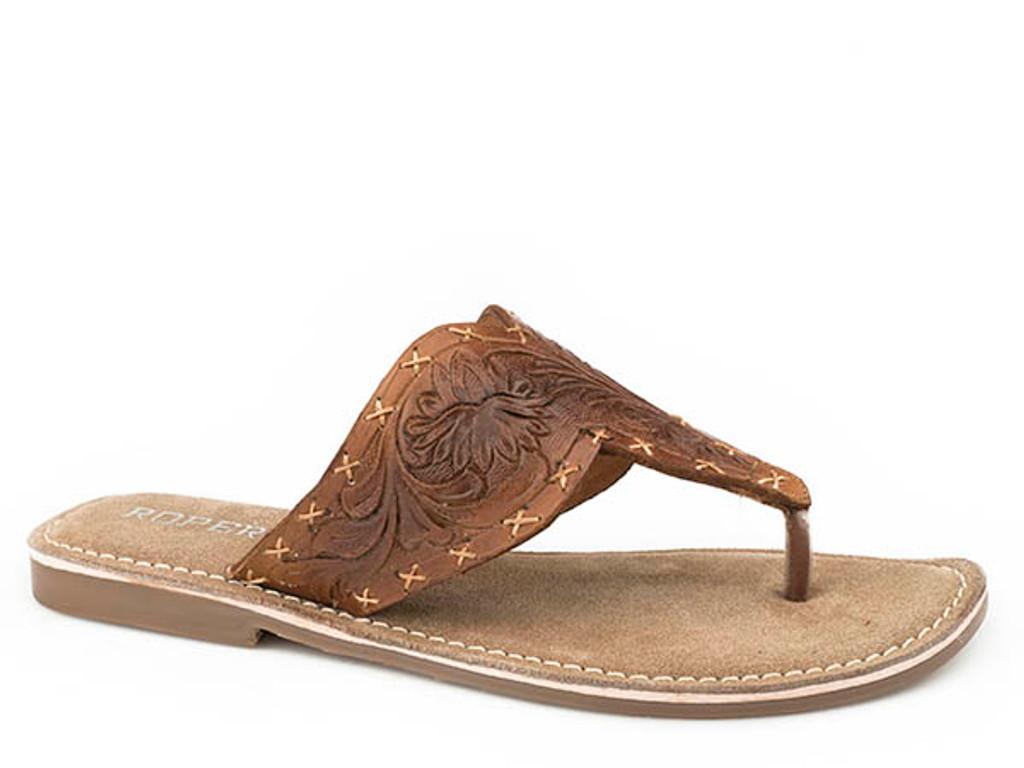 Women's Roper Flip Flops, Juliet, Tan Tooled Leather