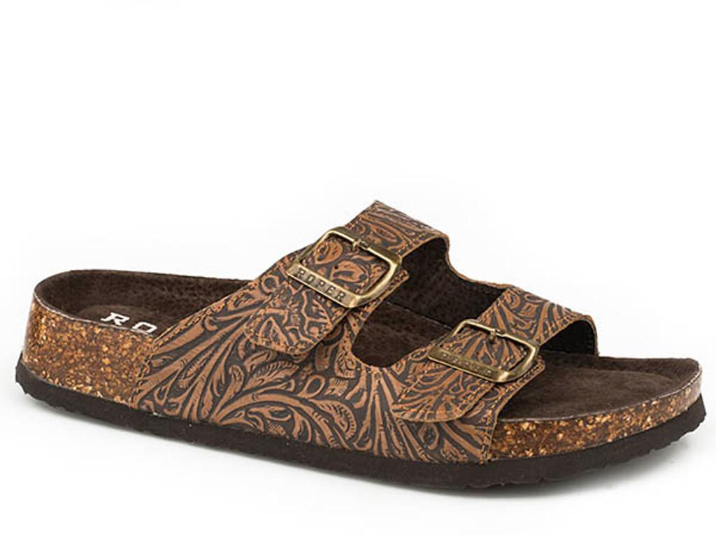 Women's Roper Sandal, Delilah, Tan Tooled Leather, 2 Strap