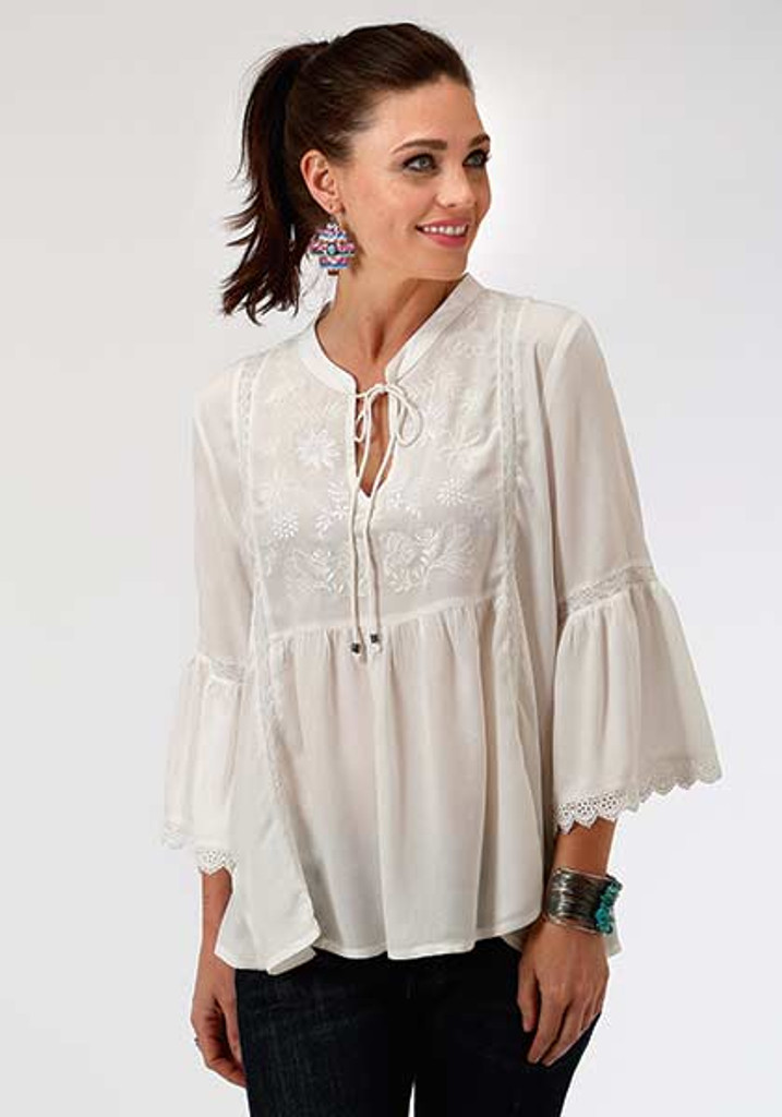 Women's Roper Top, White with Bell Sleeve and Embroidery