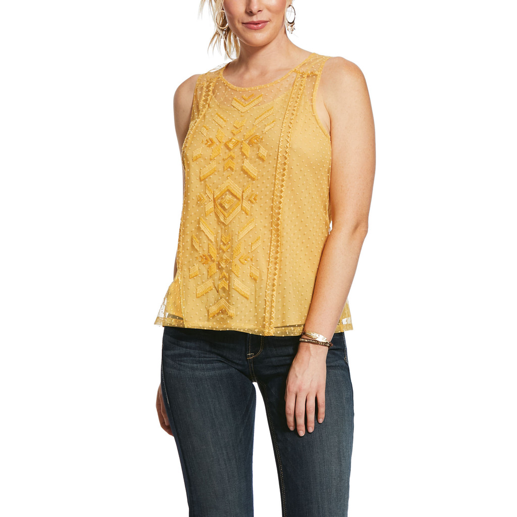 Women's Ariat Tank, Mesh With Me, Gold Dust with Lace Embroidery