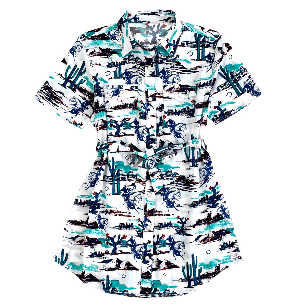 Girls Wrangler Dress, Cream with Southwest Cowboy Print