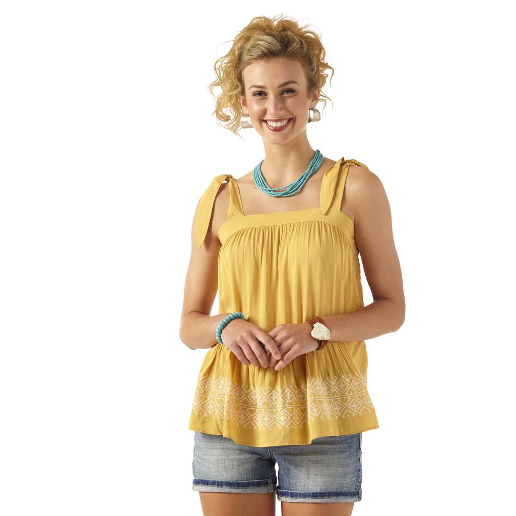 Women's Wrangler Top, Tie Strap, Golden Apricot, Embroidered Hem