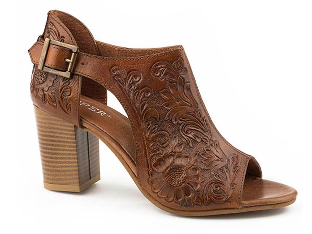Women's Roper Heels, Mika, Tan Tooled Leather, Open Toe