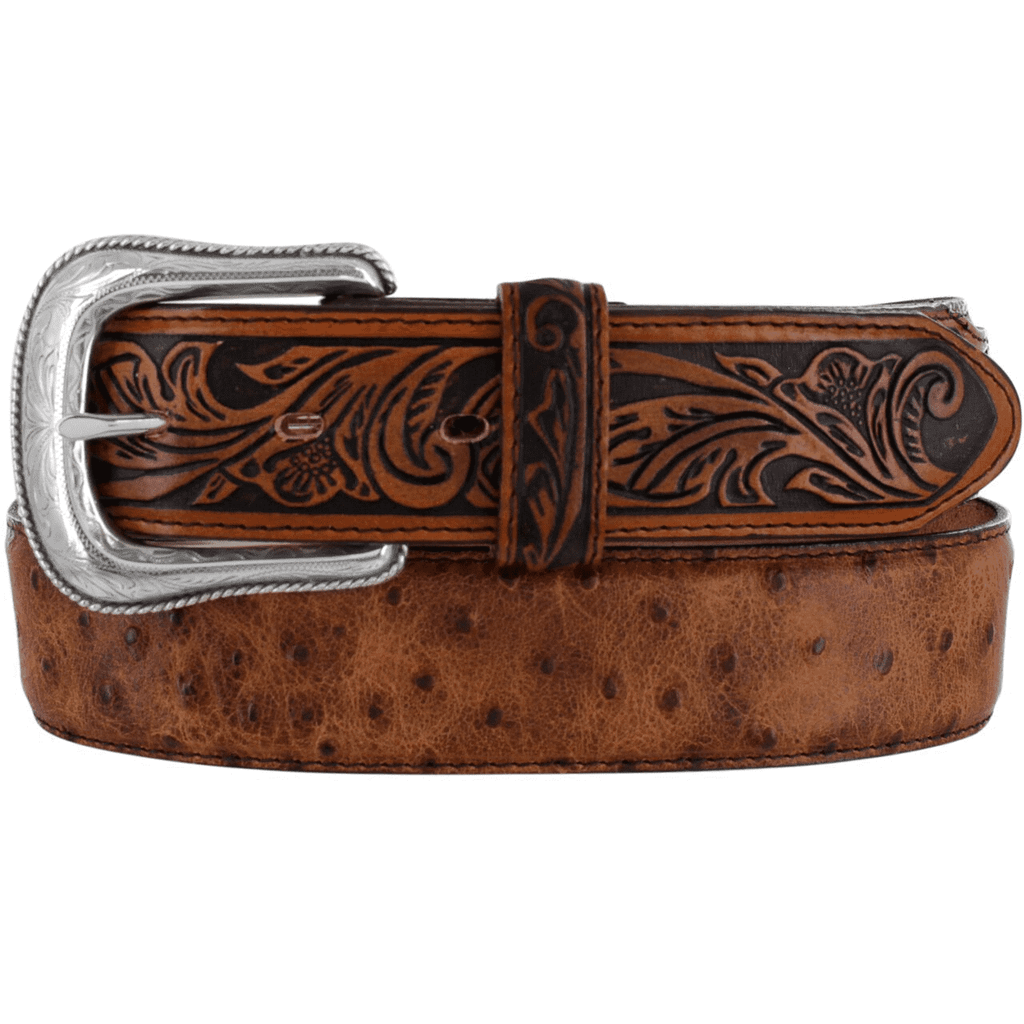 Men's Tony Lama Belt, Brown Ostrich