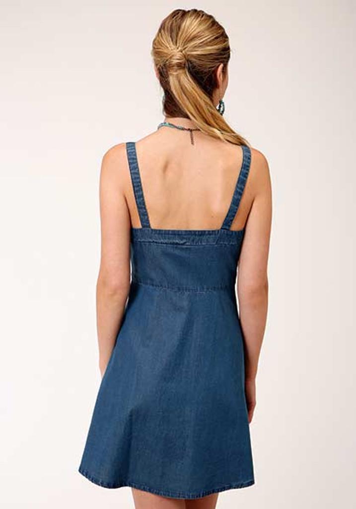 Women's Roper Dress, Denim Spaghetti Strap, Snaps
