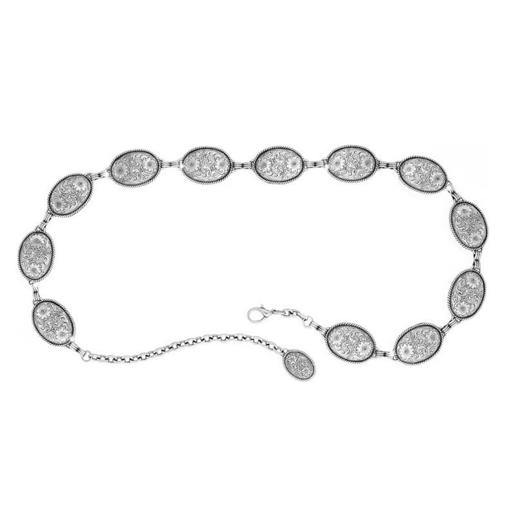 Women's Tony Lama Belt, Antique Silver Nickel Concho