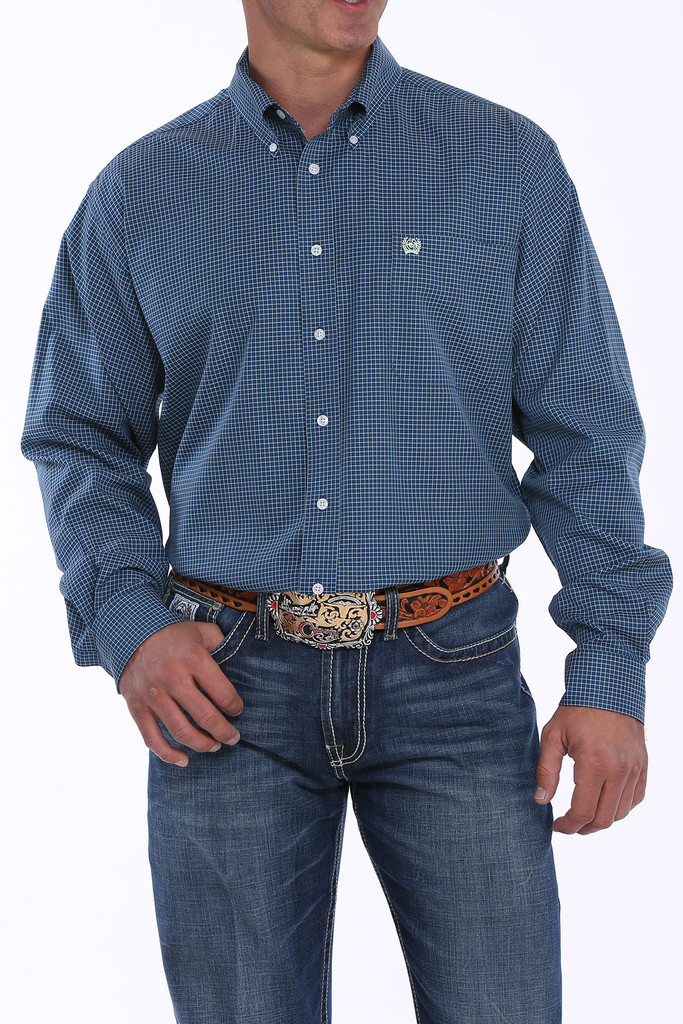 Men's Cinch L/S, Navy with White Checkered Plaid