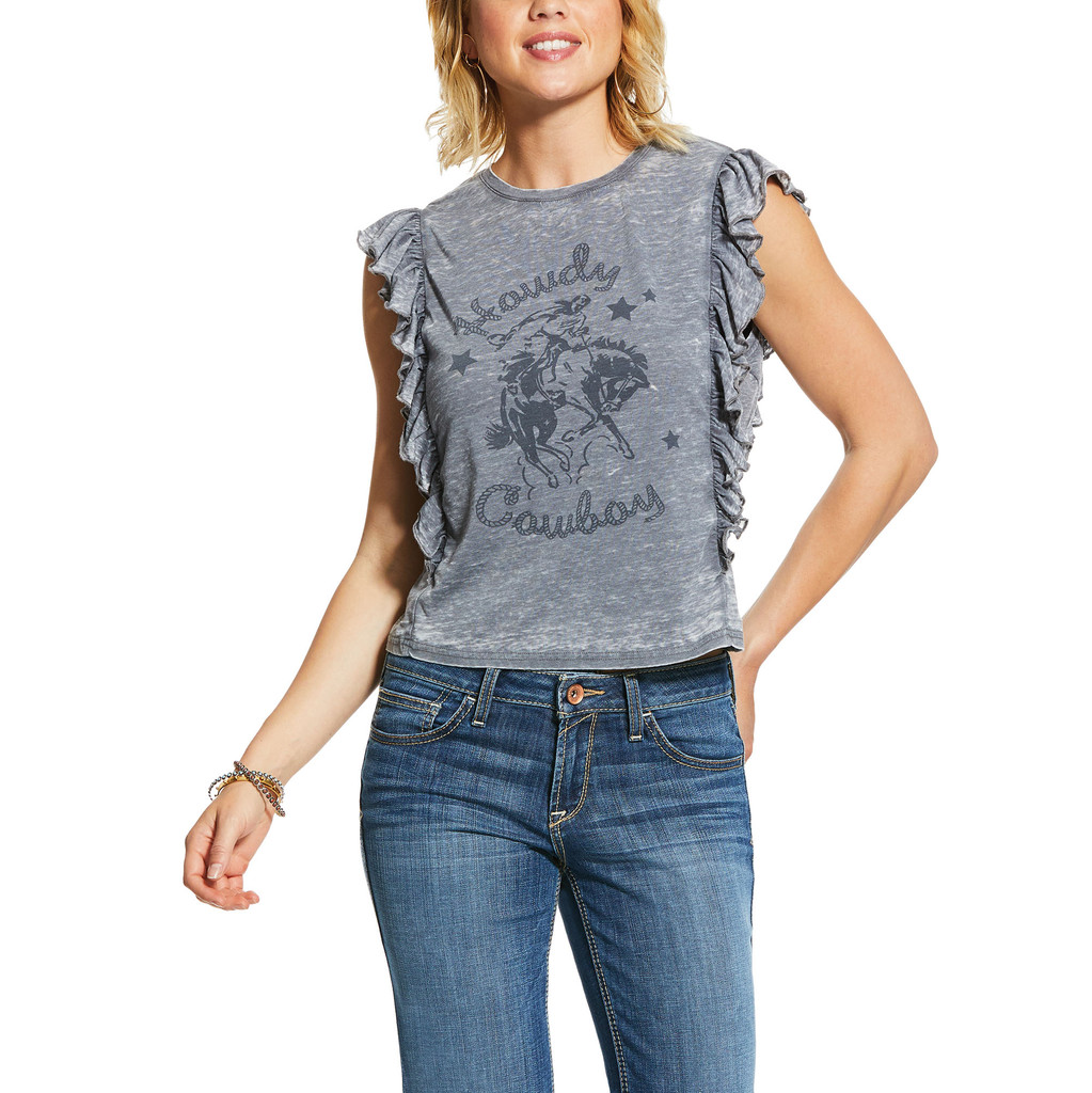 Women's Ariat Tee, Howdy Boy, Gray with Ruffled Sides
