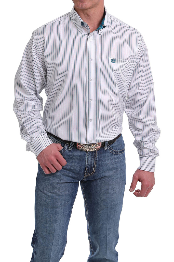 Men's Cinch L/S, White with Turquoise and Gray Pinstripes