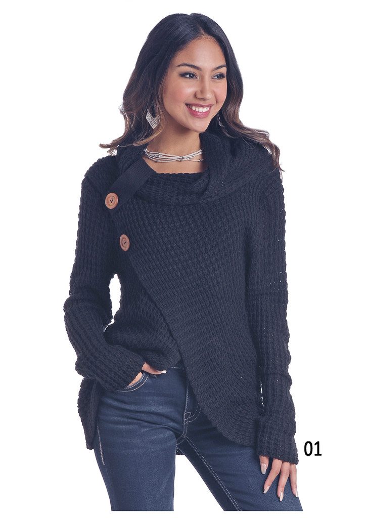 Women's Panhandle Sweater, Black Chunky Knit, Buttons, Cowl Neck