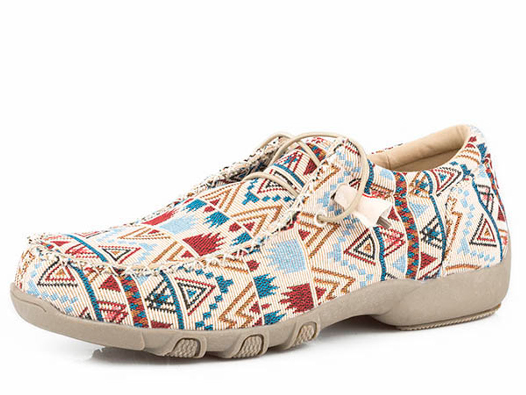 Women's Roper Shoes, Cream Chillin' Aztec, Elastic Laces