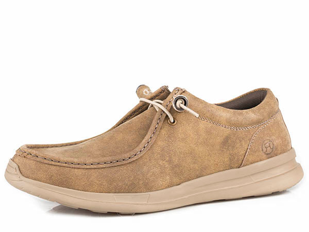 Men's Roper Shoes, Tan Chillin' Low, Elastic Laces