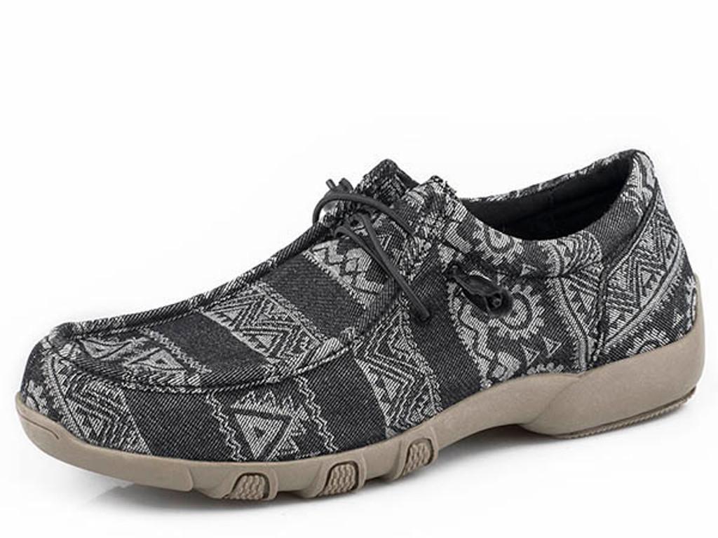 Women's Roper Shoe, Black Aztec, Elastic Tie