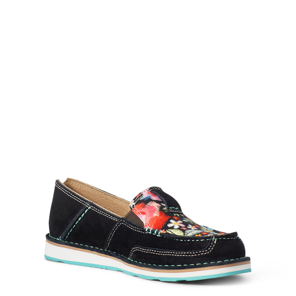 Women's Ariat Cruiser, Black Suede with Floral Print
