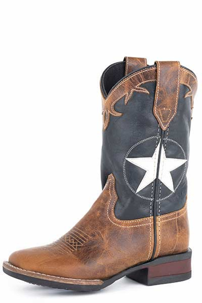 Kids Roper Boot, Brown with Navy Blue Star Shaft