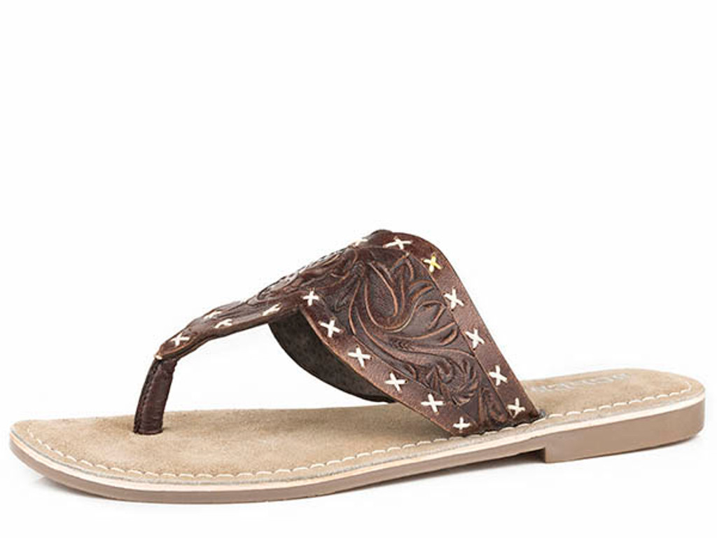 Women's Roper Flip Flops, Juliet, Brown Tooled Leather