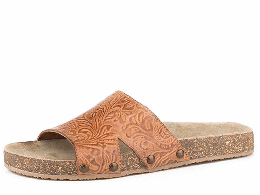 Women's Roper Sandal, Destiny, 2 Strap Tan Tooled Leather