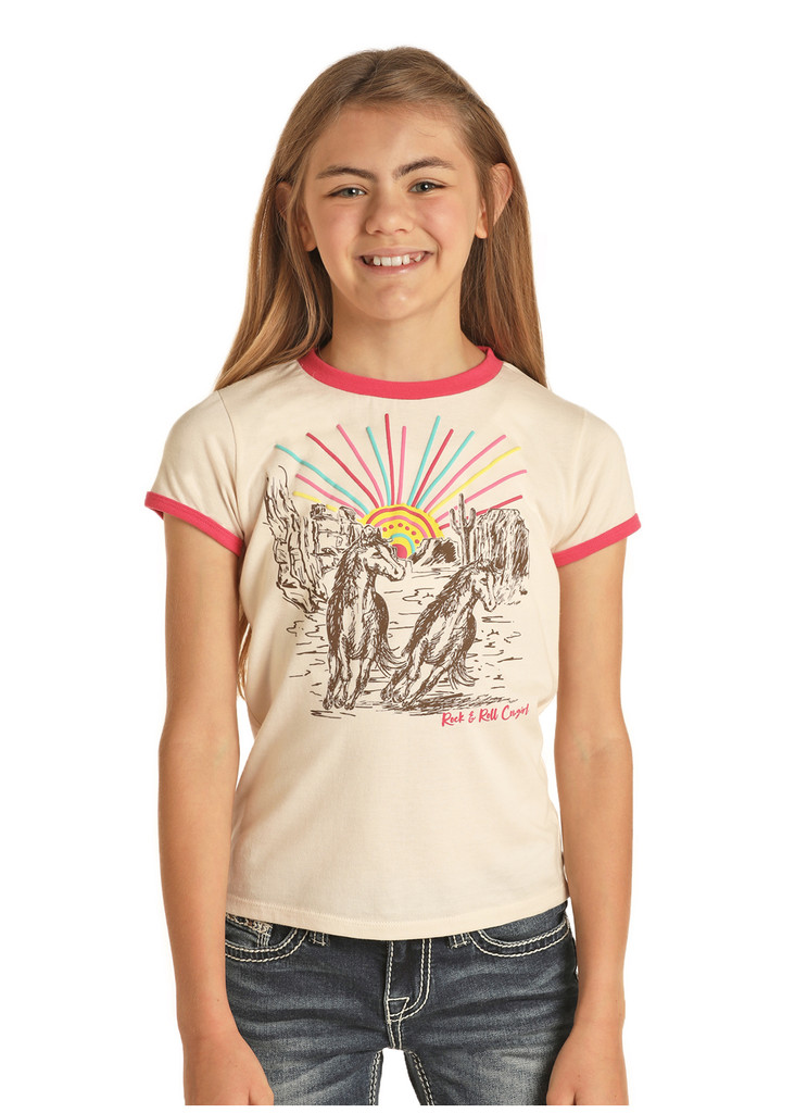 Girls Rock & Roll Tee, Cream with Ringer Sleeves, Horse Canyon