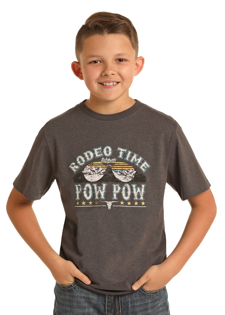 Boys Dale Brisby Tee, Charcoal Rodeo Time Pow Pow Sunglasses
