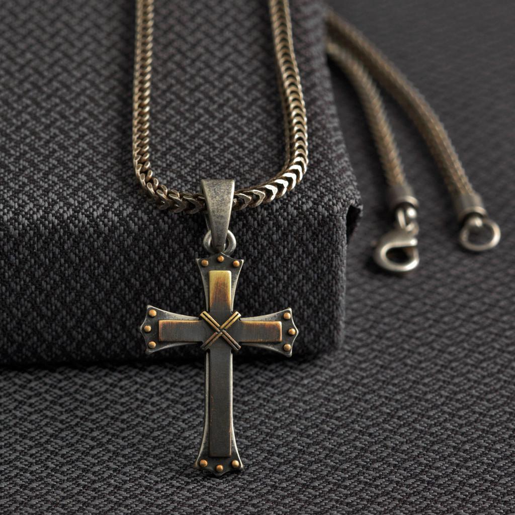 Men's Twister Necklace, Cross, Antique Silver