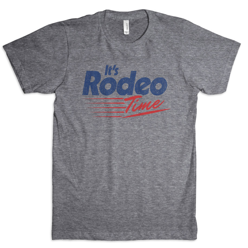 Men's Dale Brisby Tee, Fast Track Rodeo Time, Gray with Red and Blue Text