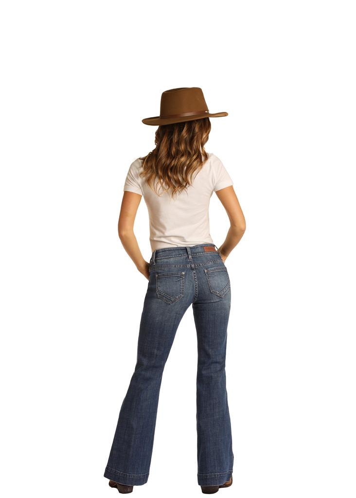 Women's Rock & Roll Jeans, Mid Rise Trouser, Dark Wash