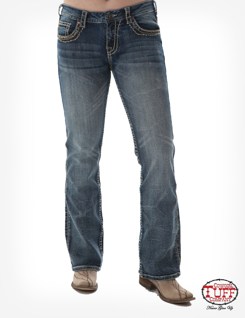 "Women's Cowgirl Tuff Jean, ""Timeless"" Light Wash with Brown Stitching"
