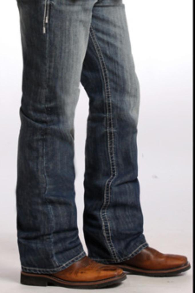 "Men's Rock & Roll Jeans Dark Distress Wash, Relax/Straight Leg, White ""V"" Stitch"
