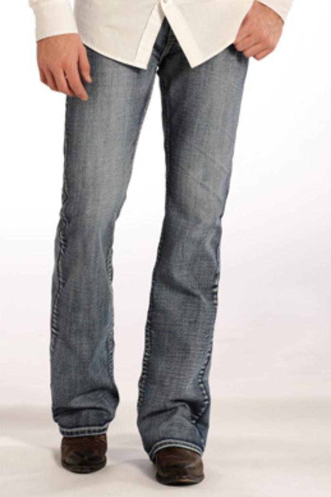 "Men's Rock & Roll Jeans Medium Wash, Regular Boot Cut, White ""V"" Stitch"