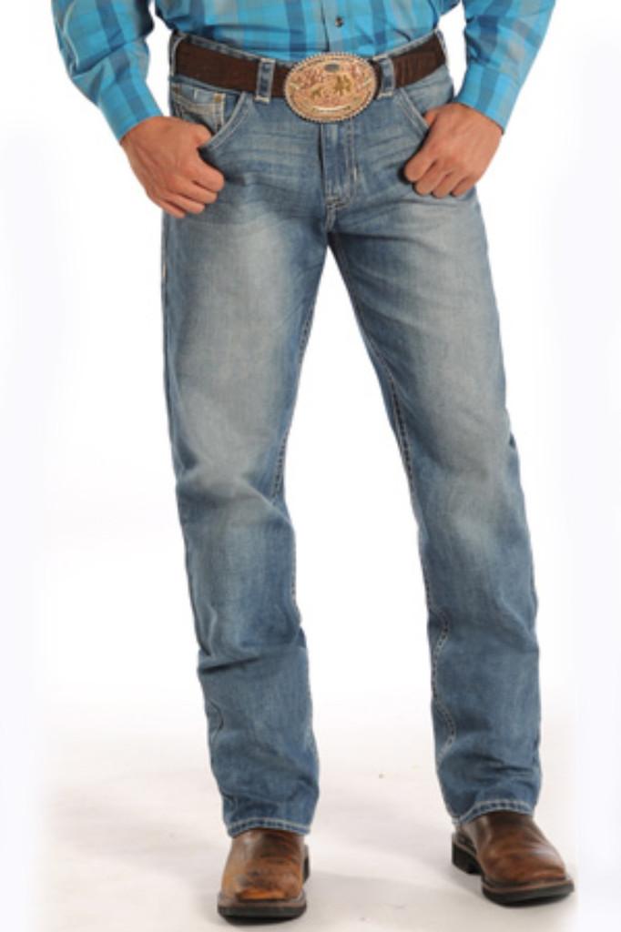 Men's Rock & Roll Jeans, Medium Wash, Tan Stitch, Tuf Cooper Competition