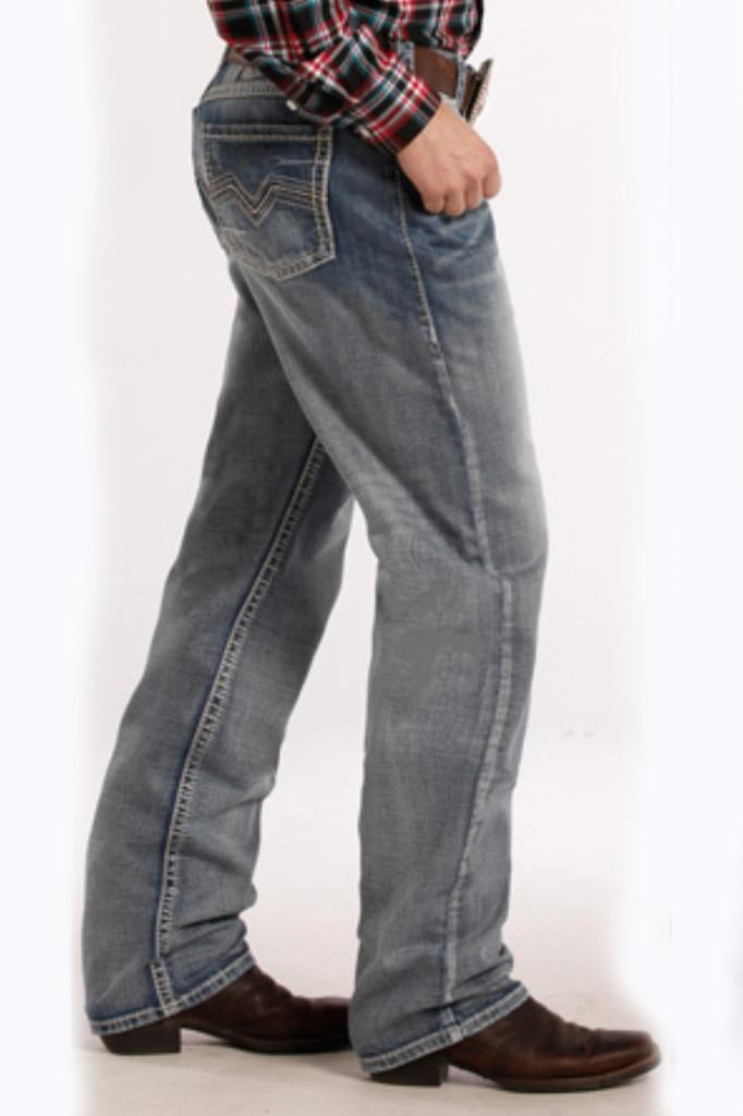 "Men's Rock & Roll Jeans,Tuf Cooper  Competiton Fit, Light Wash, Navy/Cream ""V"" Pocket"