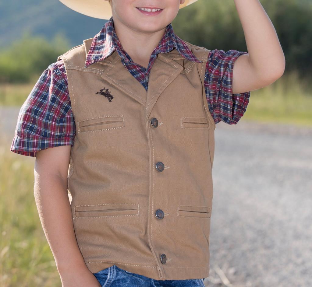 Kids Wyoming Traders, Bronco Canvas Vest, Tan