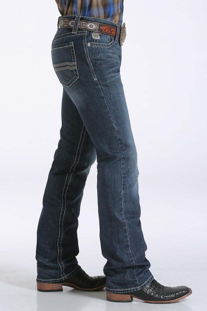 Men's Cinch Jeans, Ian, Medium Wash, Cream & Tan Pocket