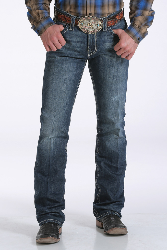 Men's Cinch Jeans, Ian, Medium Wash, Cream & Tan Pocket