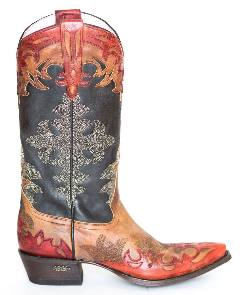 Women's Miss Macie Boots, Gussied Up, Brown Vamp with Charcoal Top, Red Flame Accents