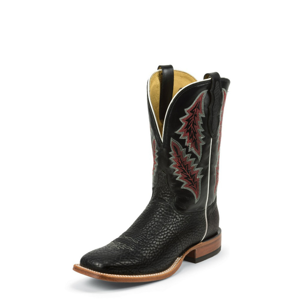 Men's Tony Lama Boot, Black Bullhide Square Toe