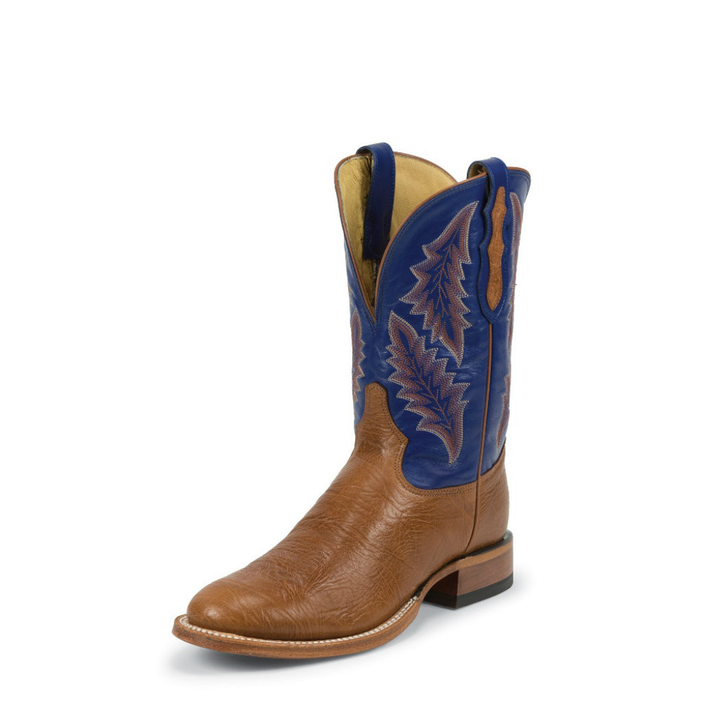 Men's Tony Lama Boot, Round Cognac Toe, Blue Shaft