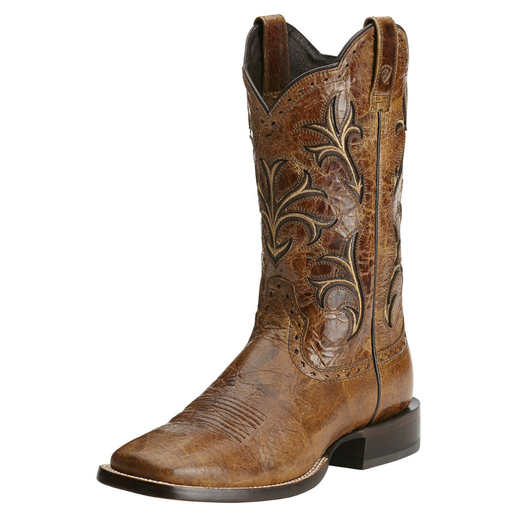 Men's Ariat Boot, Shiny Brown Vamp, Tan Swirl Shaft