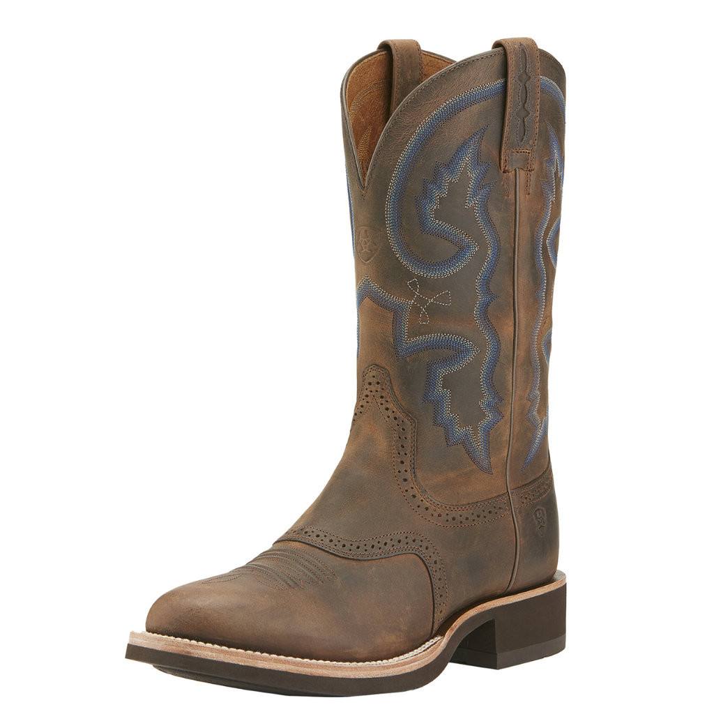 Men's Ariat Boot, Brown Round Toe, Crepe Sole