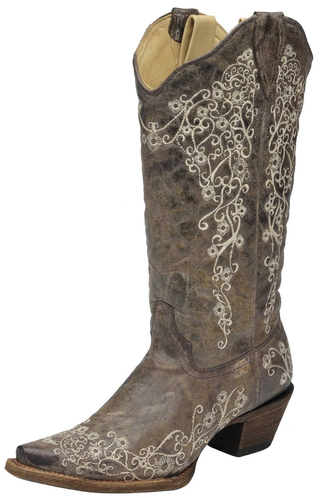 Women's Corral Boot, Brown with White Embroidery