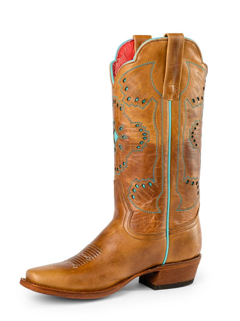 Women's Macie Bean Boot, Tan W/ Turqouise Aztec Print
