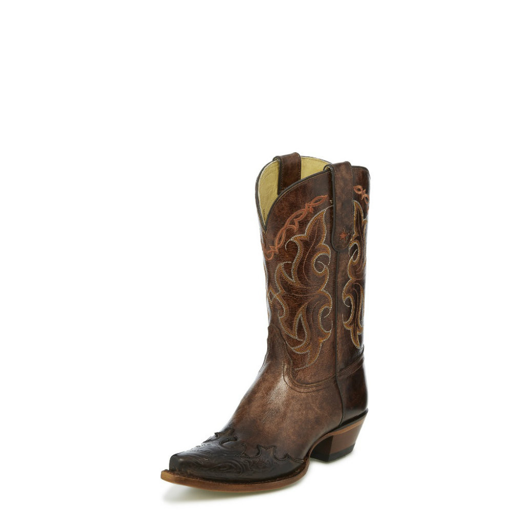 Women's Tony Lama Boot, Brown Tooled Wing Tip, Santa Fe, Snip Toe