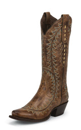 Women's Nocona Boot, Snip Toe, Vintage Brown w/ Turquoise Stitch
