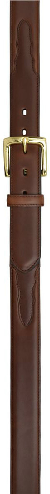 Men's 3D Belt, Solid Brown, Gold Buckle