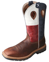 Men's Twisted X Steel Toe Boot, Texas Flag/ Brown, Wide Square Toe