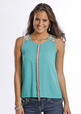 Women's Panhandle Tanktop, Turquoise with Open Back
